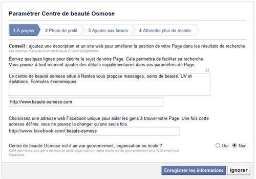 Parametres facebook
